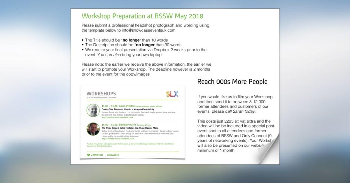 Workshop Speaker Info Sheet May 2018 - please read