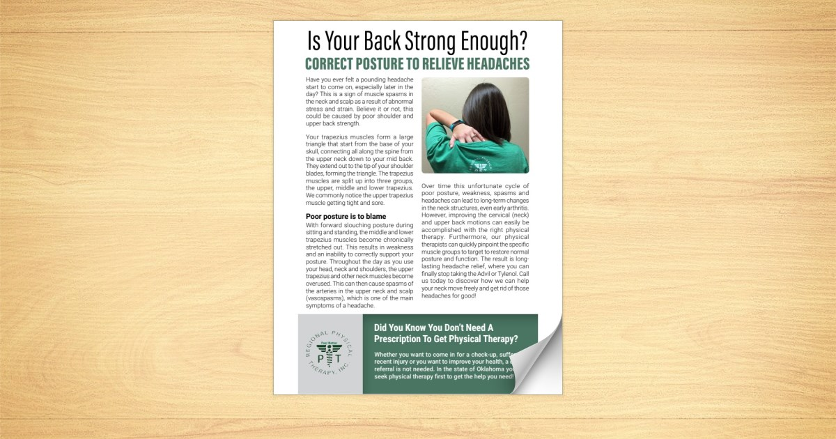 Regional PT: How Strong Shoulders Relieve Headaches